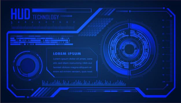 Circuito de hud azul cyber tecnologia futura conceito fundo Vetor Premium