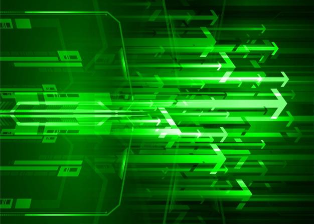 Circuito verde cyber circuito futuro tecnologia conceito fundo Vetor Premium