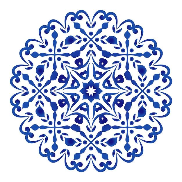 Circular decorativo floral azul e branco Vetor Premium