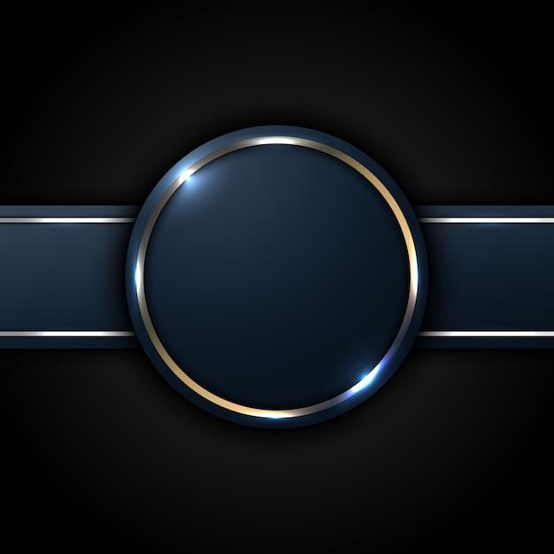 Círculo azul escuro e etiqueta listrada com linha dourada Vetor Premium