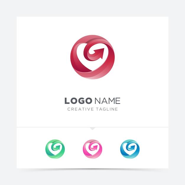 Círculo de amor com variação de logotipo de seta Vetor Premium