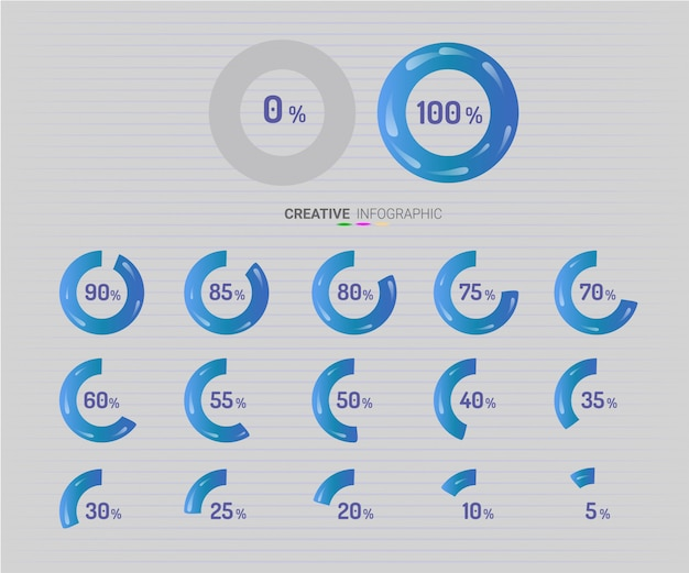 Círculo de elementos de infográfico com indicação de porcentagens Vetor Premium