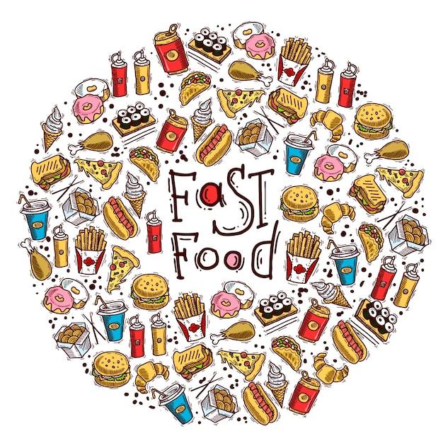 Círculo de fast food Vetor grátis