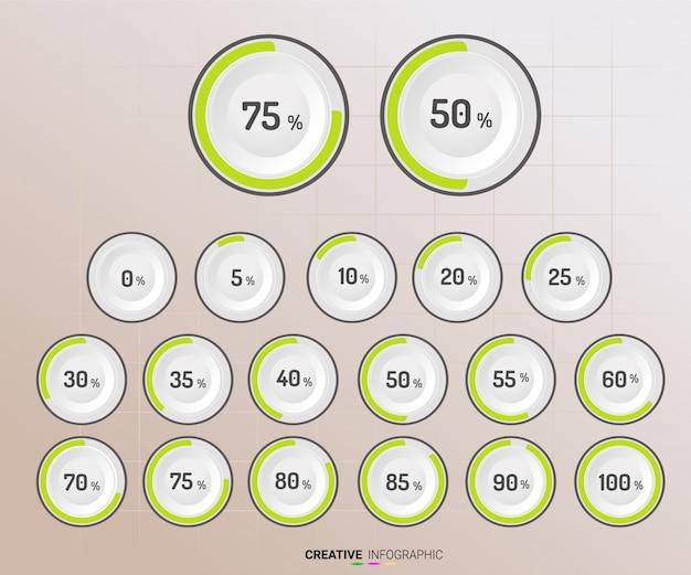 Círculo de gráfico com indicação de porcentagens. Vetor Premium