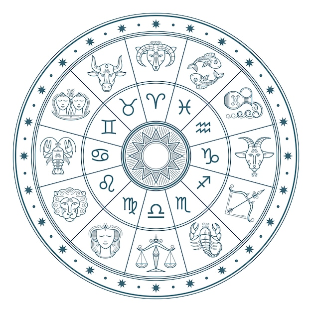 Círculo de horóscopo de astrologia com signos do zodíaco vector fundo Vetor Premium