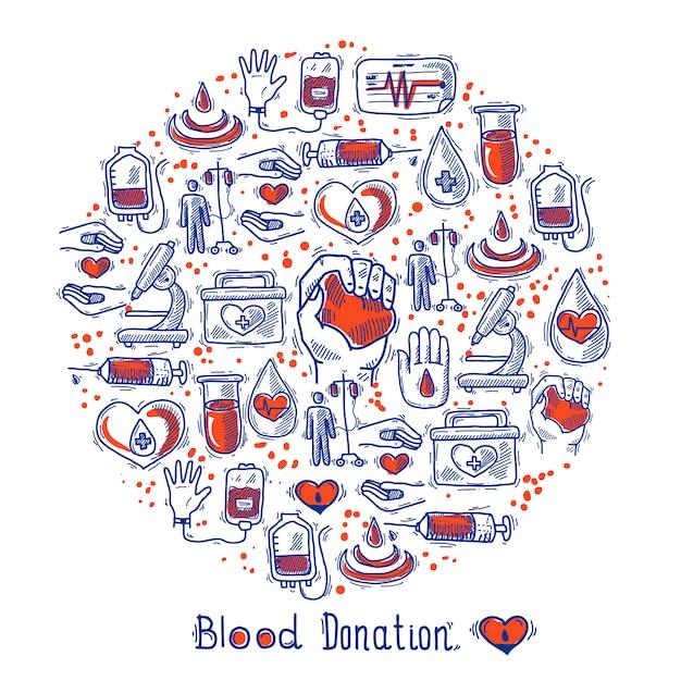 Círculo de ícones de doador Vetor grátis