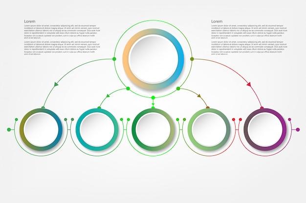 Círculo de infográfico com sinal de setas e 5 opções ou etapas Vetor Premium