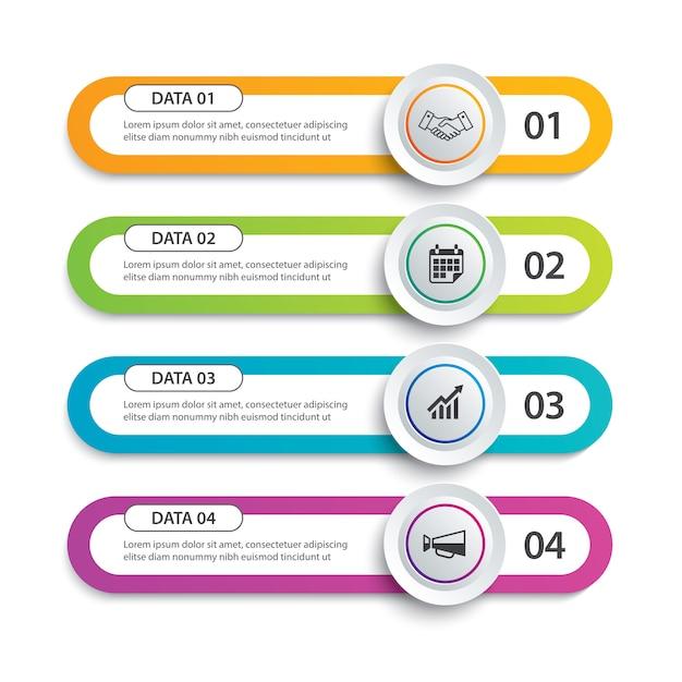 Círculo de infográficos e papel de índice de tabulação com 4 modelos de dados Vetor Premium