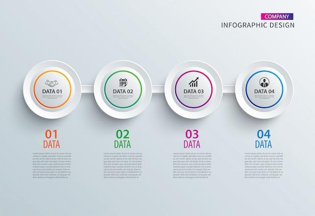 Círculo de infográficos papel com modelo horizontal de 4 dados. Vetor Premium