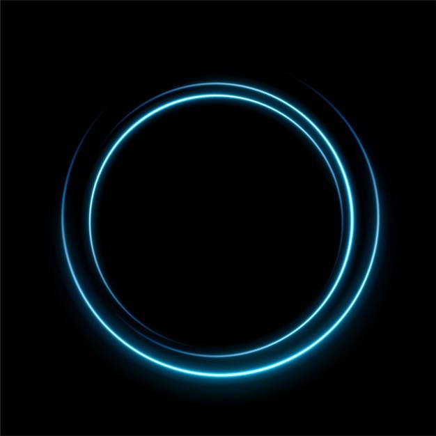 Círculo de linha de luz azul Vetor Premium