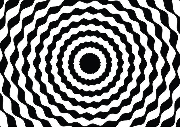 Círculo de linha de onda preto e branco ilusão de ótica Vetor Premium