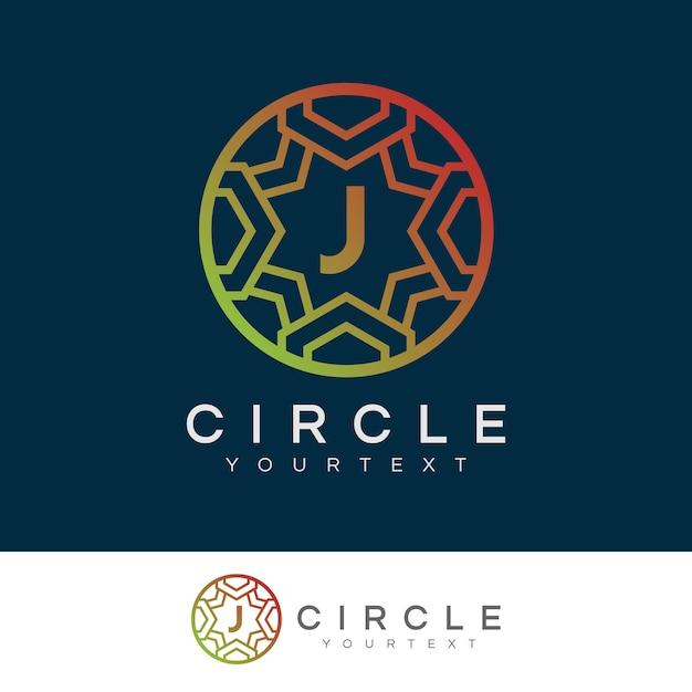 Círculo de luxo projeto inicial do logotipo da letra j Vetor Premium