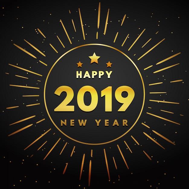 Círculo de ouro ano novo com fogos de artifício de fundo Vetor Premium