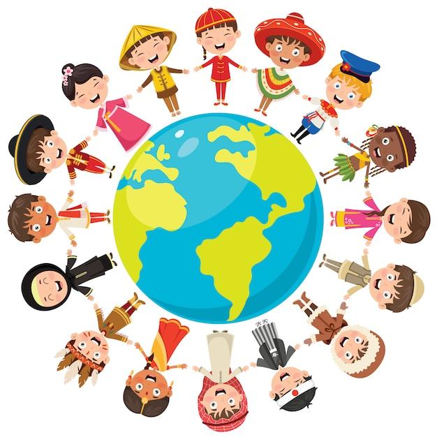 Círculo de raças diferentes de crianças felizes Vetor Premium