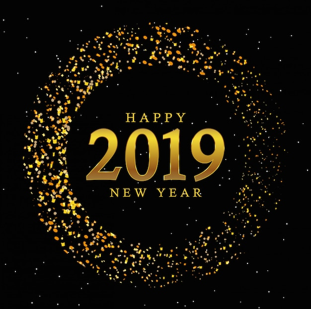 Círculo dourado novo ano 2019 vintage fundo Vetor Premium