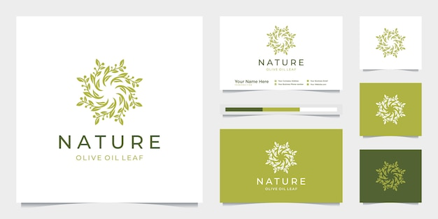 Círculo elegante folha árvore ramo azeite logotipo design. Vetor Premium
