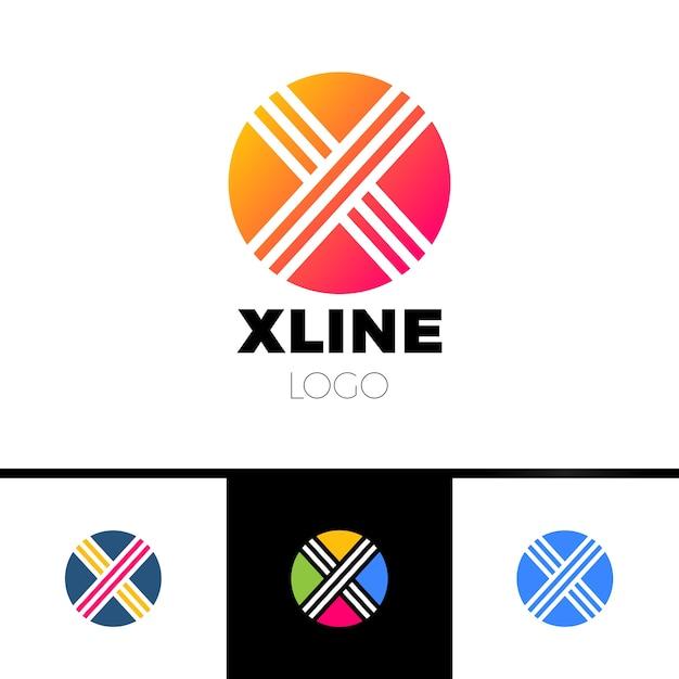 Círculo, letra o, x. desenho minimalista abstrato do logotipo Vetor Premium