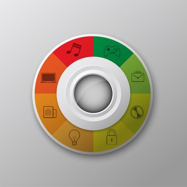 Círculo multicolorido com ícones Vetor grátis