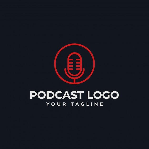 Círculo simples microfone podcast rádio linha logotipo modelo Vetor Premium