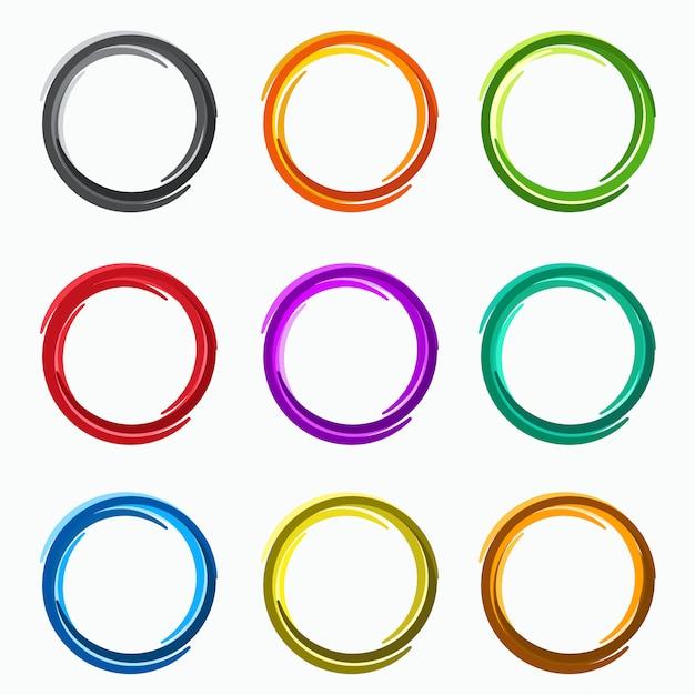 Círculos abstratos de cor, elementos de loops Vetor Premium