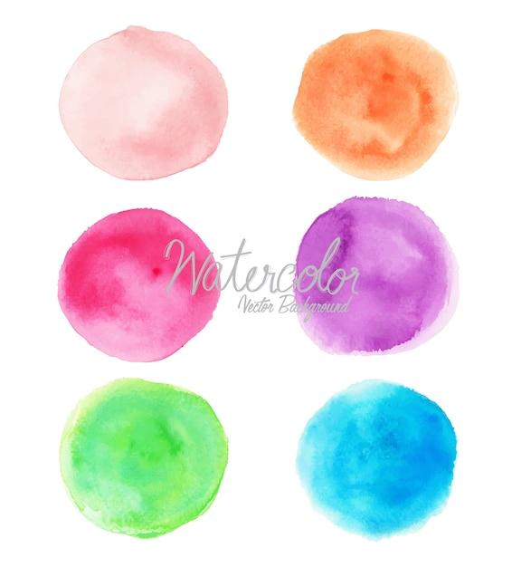 Círculos coloridos em aquarela sobre fundo branco Vetor Premium