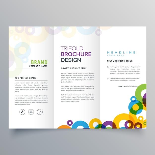 círculos coloridos negócio tri fold brochura modelo de design vetorial Vetor grátis