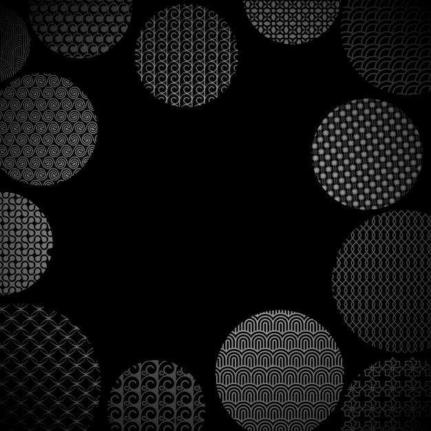 Círculos de prata com diferentes padrões geométricos em preto Vetor Premium