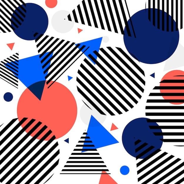 Círculos modernos abstratos da forma e teste padrão dos triângulos com linhas pretas diagonalmente no fundo branco. Vetor Premium