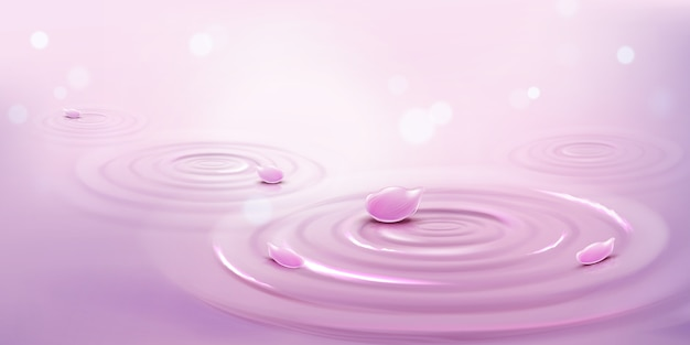 Círculos na água e pétalas de flores cor de rosa, fundo de ondas Vetor grátis