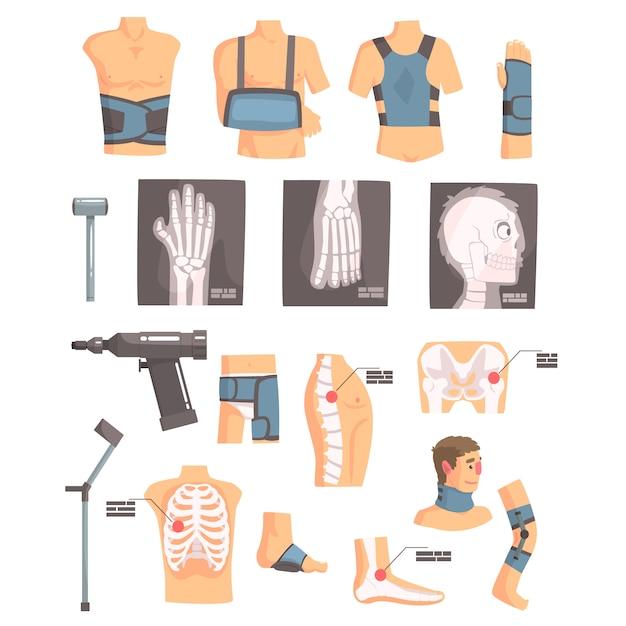 Cirurgia ortopédica e atributos de ortopedia e conjunto de ferramentas de ícones dos desenhos animados com ataduras, raios-x e outros objetos médicos. Vetor Premium