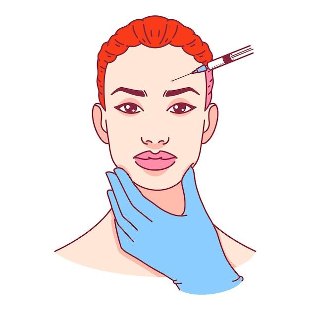 Cirurgia plástica. injeção de botox na testa. ilustração vetorial Vetor Premium