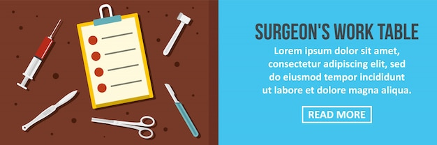 Cirurgião trabalho mesa banner modelo horizontal conceito Vetor Premium