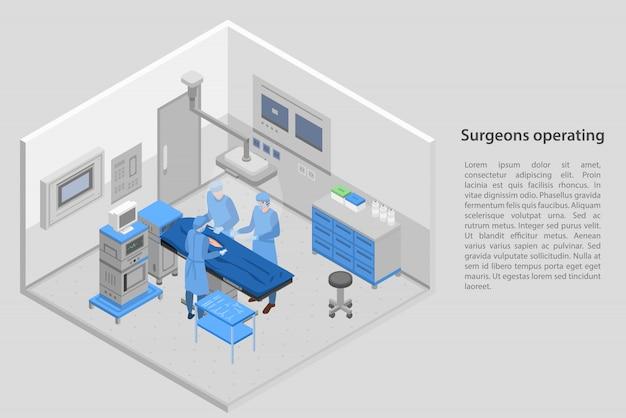 Cirurgiões operando bandeira de conceito, estilo isométrico Vetor Premium