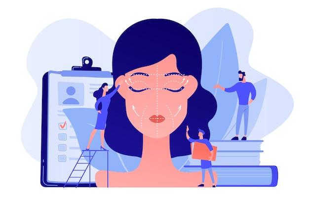 Cirurgiões plásticos que trabalham em cirurgia plástica facial para rosto de mulher com rugas. lifting facial, procedimento de ritidectomia, conceito de cirurgia plástica facial. ilustração de vetor isolado de coral rosa Vetor grátis