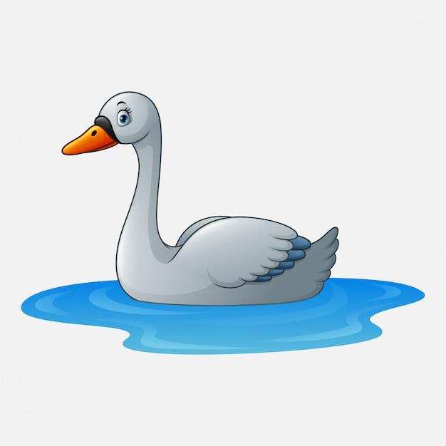 Cisne de beleza dos desenhos animados flutua na água Vetor Premium