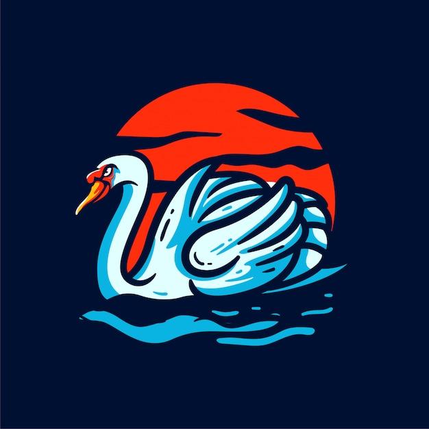Cisne do sol mascote logotipo ilustração personalizada Vetor Premium