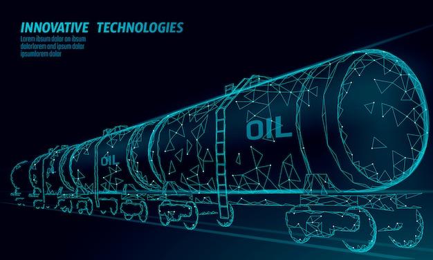 Cisterna ferroviária de óleo 3d render baixo poli tanque de diesel da indústria de financiamento de petróleo combustível. cilindro ferrovia vagão trem gasolina logística negócios econômicos linha poligonal ilustração vetorial Vetor Premium