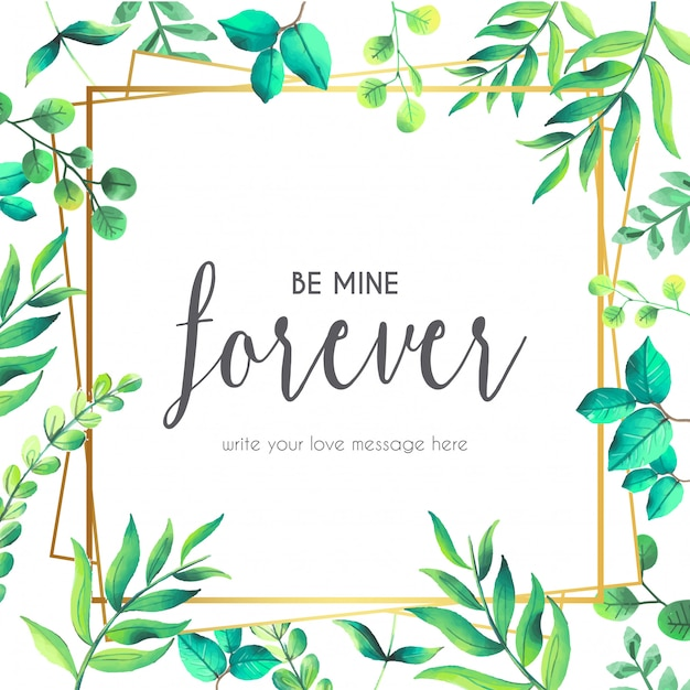 Citação de amor com moldura floral Vetor grátis