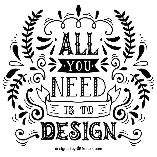 Citação de design gráfico na mão desenhada estilo Vetor grátis