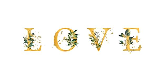 Citação de frase floral dourada amo letras maiúsculas de fonte com folhas de flores e ouro splatters isolado Vetor grátis