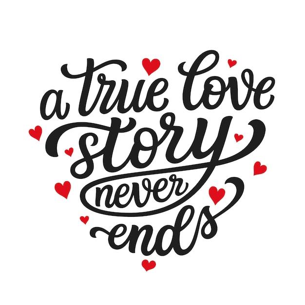 Citação de tipografia de amor Vetor Premium