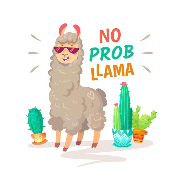 Citação legal da rotulação da alpaca da garatuja dos desenhos animados com nenhum lama do prob. Vetor Premium