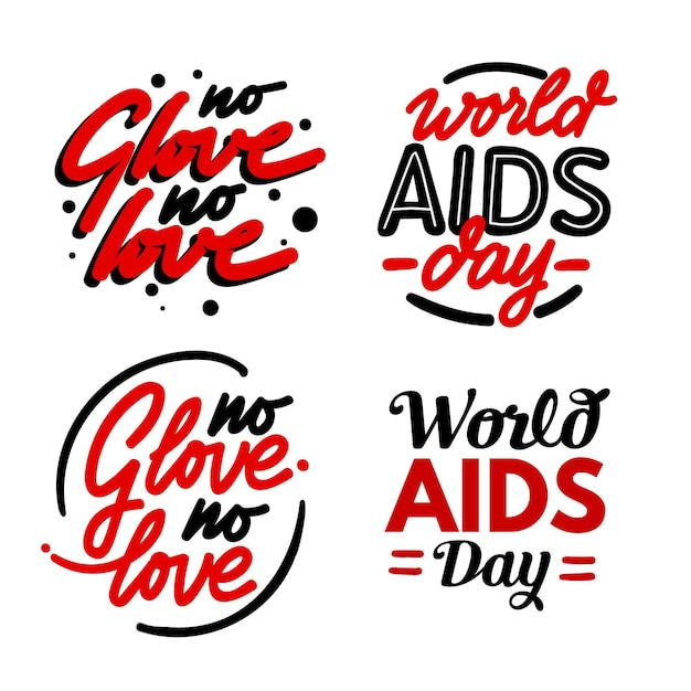 Citações da rotulação do dia mundial da aids Vetor grátis