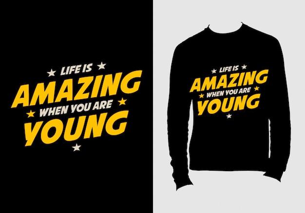 Citações de letras. mão desenhada tipografia t-shirt design Vetor Premium