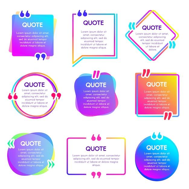 Cite a caixa de informações. quadro de observação de texto, rótulo de referência de citações e conjunto de caixas de quadros de trecho de palavras de diálogo de texto Vetor Premium