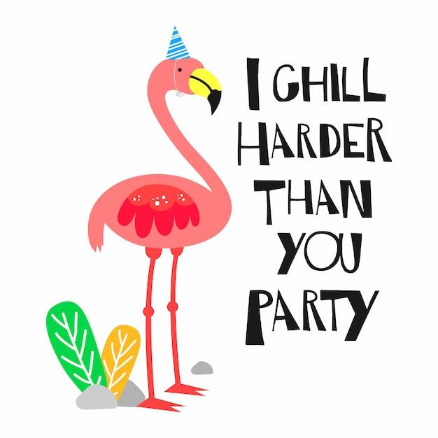 Cite com ilustração de flamingo Vetor Premium