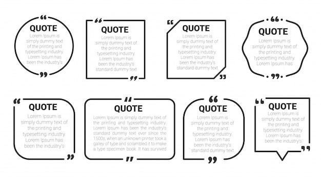 Cite o quadro de caixa. cite o conjunto de modelos de bolha de caixa e discurso. isolar em fundo branco. Vetor Premium