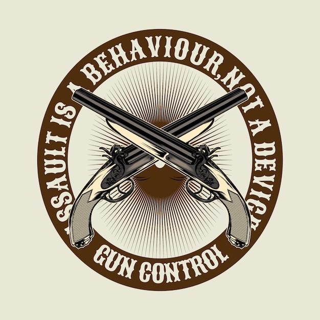 Cite sobre arma, agressão é comportamento Vetor Premium