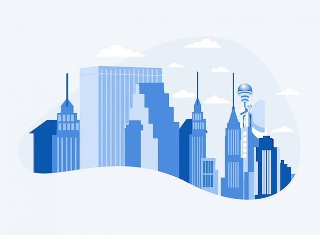 City business center downtown com arranha-céus Vetor Premium