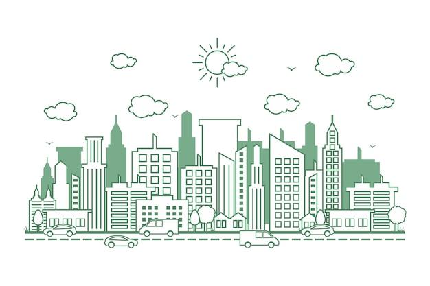 City cityscape skyline street road design de linha de ilustração Vetor Premium